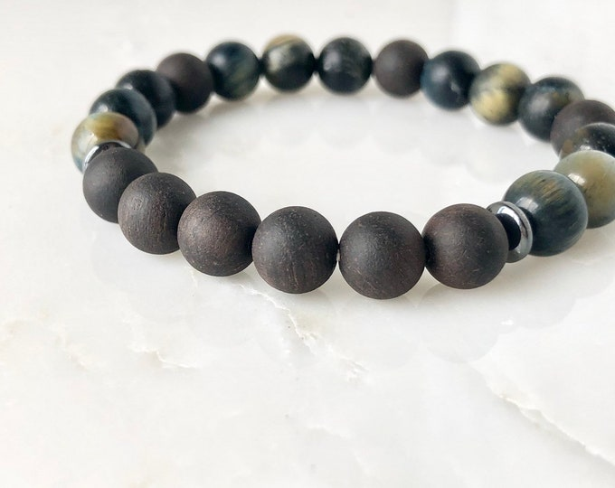 Wood and Tigers eye diffuser bracelet, yoga bracelet, mens beaded bracelet, jewelry for men, essential oil bracelet, gift for him, stretch