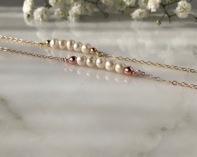 June Birthstone Necklace, rose gold pearl necklace, dainty pearl necklace, delicate necklaces, simple necklace, pearl necklace, bridesmaids