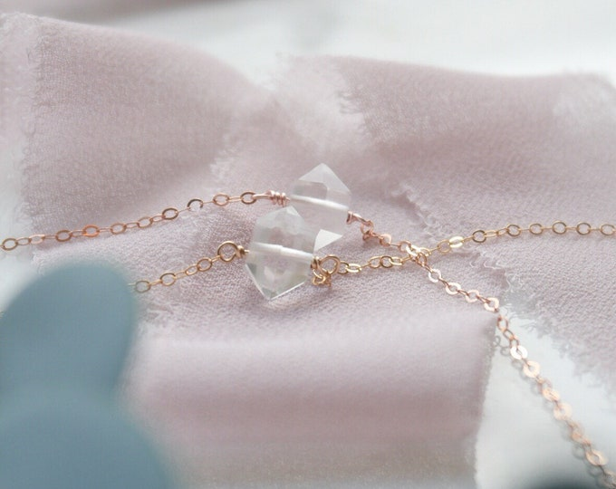Herkimer Diamond Aromatherapy diffuser Necklace, Gemstone Essential Oil Necklace in 14k gold filled and rose gold filled