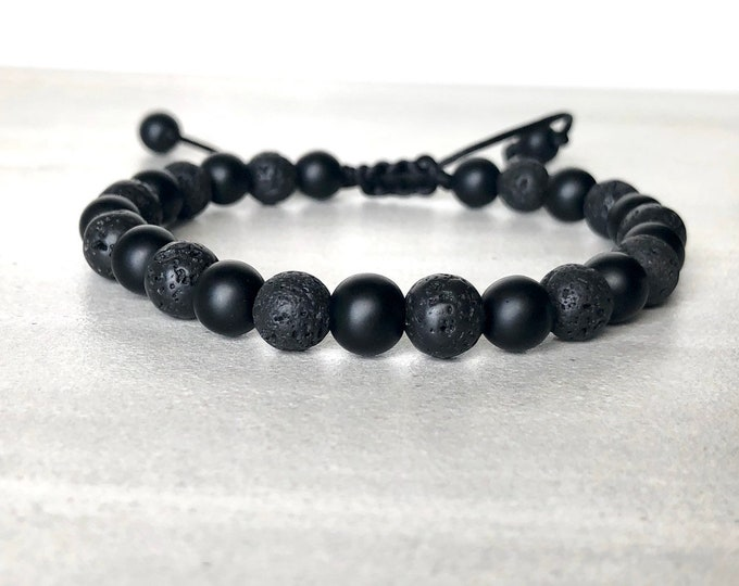 Mens black onyx and lava diffuser bracelet, essential oil bracelet for men, yoga bracelet, borfriend gift, husband gift, mens jewelry