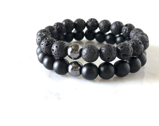 Lava and Onyx Mens diffuser bracelet, yoga bracelet, gift for him, warrior bracelet, men's jewelry, essential oil bracelet, boyfriend gift