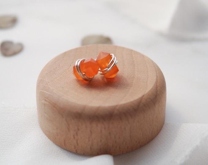 Orange Carnelian Sterling Silver 925 stud earrings, Carnelian Gemstone Earrings, Gemstone Post earrings