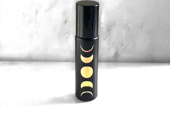 Moon phase essential oil roller bottle, gemstone essential oil roller, oily tools, moon roller, eo tools, roller bottle, black rollerbottle