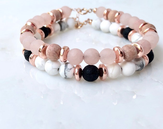 Rose Wood and lava rock rose gold and howlite essential oil beaded bracelet set, beaded bracelet diffuser, essential oil jewelry