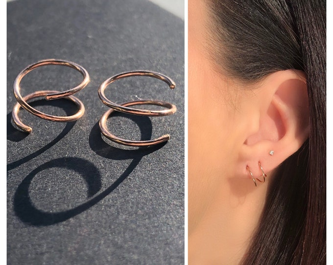 spiral earrings, tiny twist earrings, double piercing earrings, corkscrew earrings, gold ear huggers, ear cuffs, silver dainty minimalist