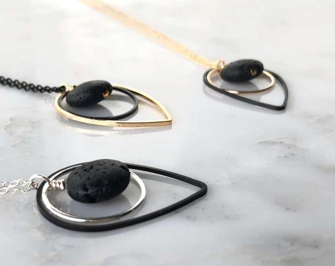 Astoria mixed metals diffuser necklace, essential oil necklace, necklace diffuser, Geometric gold and black necklace, oily jewelry, jw