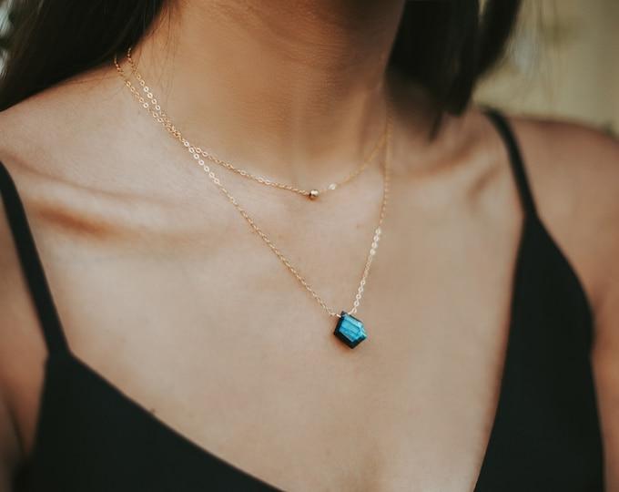 Geometric flashy Labradorite Gold Filled Aromatherapy Diffuser Necklace, modern labradorite necklace