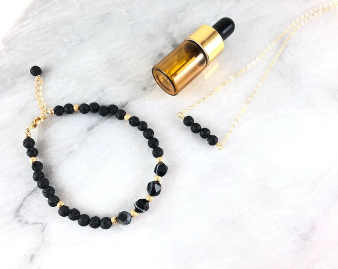 Nyx, Essential Oil diffuser gift set, lava rock, aromatherapy, diffuser necklace, diffuser bracelet, oil Diffuser, therapeutic