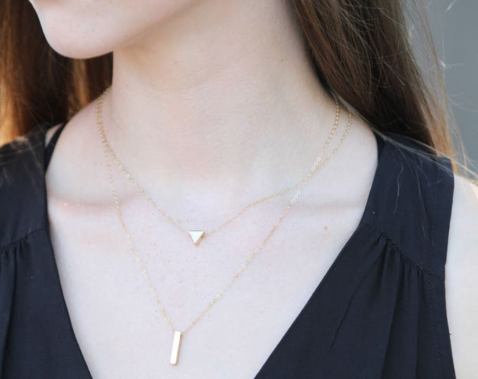 Gold filled minimal Layering necklaces, Minimalist Necklace, dainty necklace, Geometric modern necklaces, layered necklace, dainty set, lily