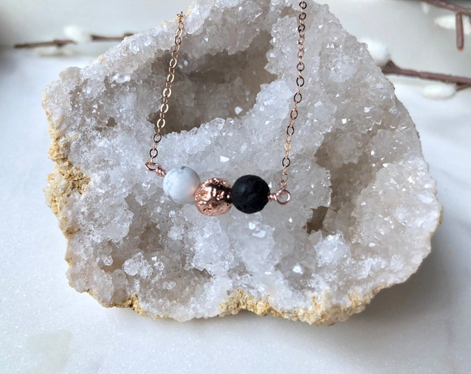 Trio Rose gold diffuser necklace, howlite lava stone and rose gold essential oil necklace, aromatherapy jewelry, dainty rose gold necklace