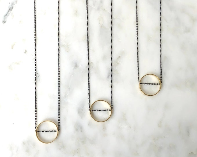 Mixed metal geometric necklace, black and gold circle pendant necklace, minimalist circle necklace, gold minimalist jewelry