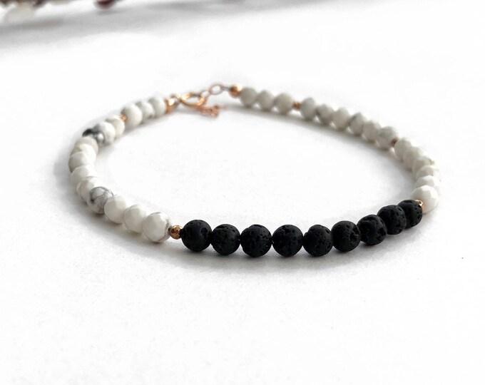 Juno,  lava rock diffuse bracelet, essential oil diffuser, rose gold diffuser bracelet, aromatherapy, essential oil bracelet, howlite, jw