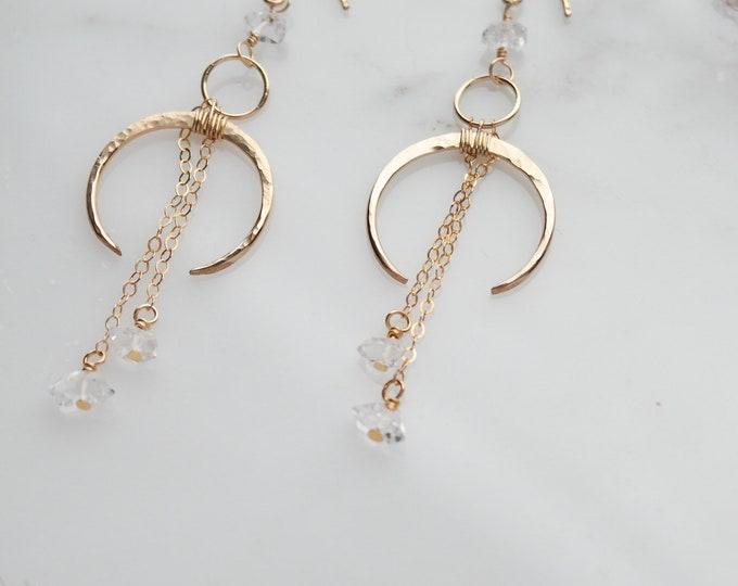 Gold Herkimer Diamond Moon Earrings, Crescent Moon dangle earrings, Gold Filled herkimer earrings, boho gold filled gemstone earrings