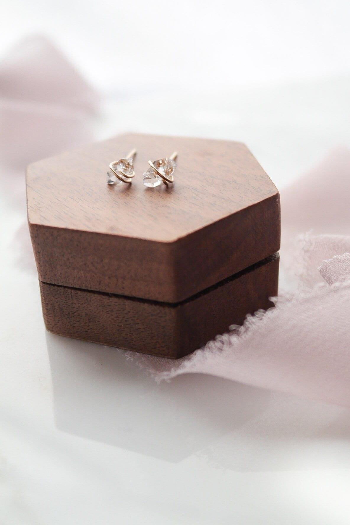 Herkimer Diamond April Birthstone Petite Minimalist Hoop Earrings Sterling Silver