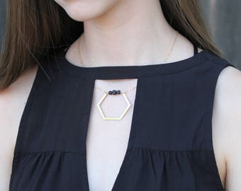 Skylar, Gold Hexagon diffuser necklace diffuser necklaces lava bead necklace hexagon necklace diffuser essential oil necklace gift for her