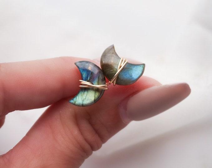 Crescent Moon labradorite earrings, wire wrapped gemstone earrings, whimsical earrings