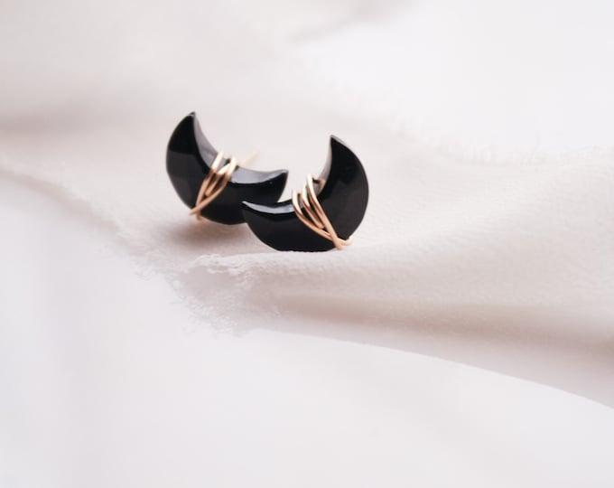 Crescent Moon Onyx Earrings, whimsical gemstone earrings, wire wrapped earrings