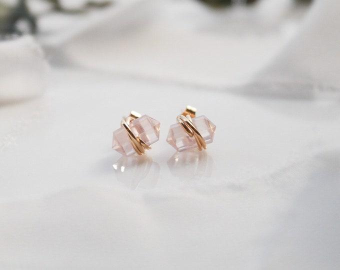 Rose Quartz Gold Filled Stud Earrings, Gemstone Stud earrings, Quartz Gold Filled Stud Earrings, engagement gift