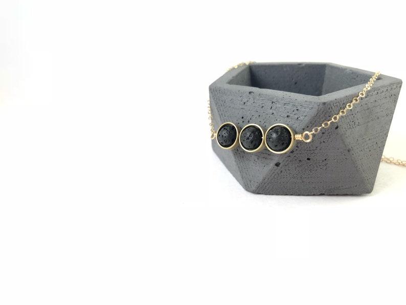 Essential Oil Necklace Cora lava Diffuser Necklace Gold Diffuser Jewelry Triple Gold Diffuser Necklace gift Modern Diffuser Necklace