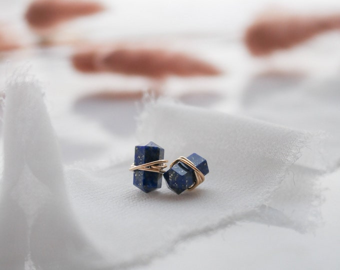 Lapis lazuli gemstone stud wire wrapped earrings, gemstone stud earrings, blue gemstone earrings modern earrings