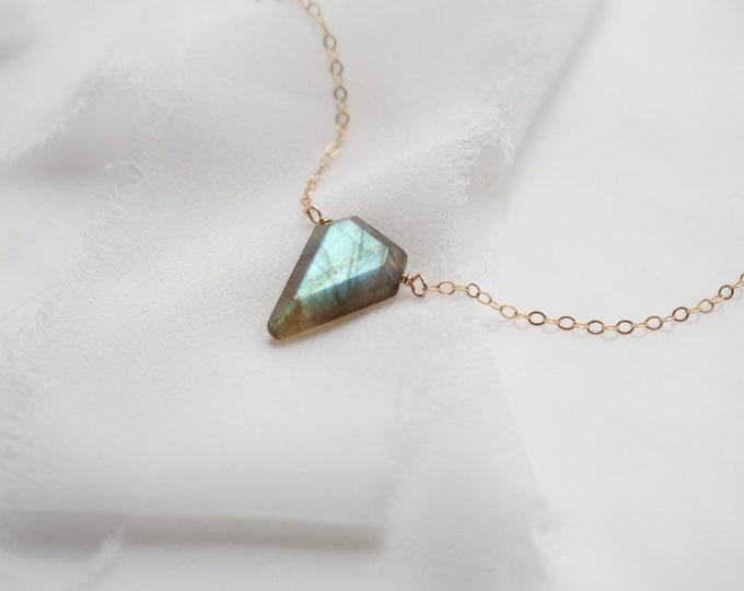 Triangle Geometric Labradorite Pendant Necklace, Blue Flash Labradorite Necklace, modern necklace