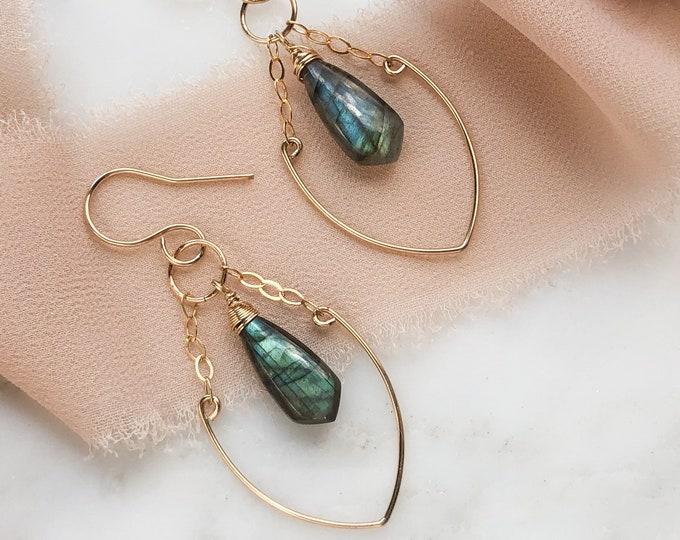 Gold labradorite Earrings, minimal labradorite dangle earrings, Handcrafted chandelier Gemstone earrings
