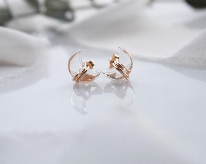 Quartz Moon stud earrings in 14k gold filled, lunar jewelry, quartz celestial earrings, clear quartz crystal crescent moon dainty earrings