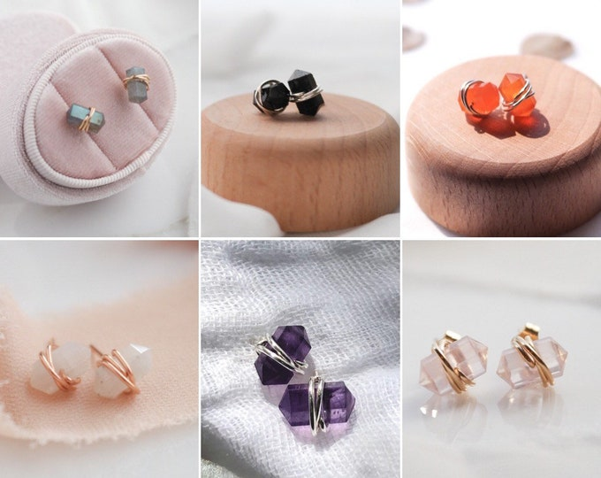 Gemstone Stud Earrings, Dainty Gemstone Handmade Earrings available in many stone choices