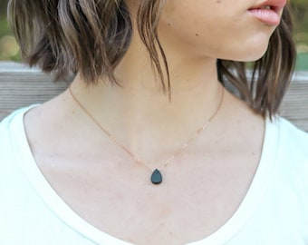 Droplet Diffuser necklace, lava stone necklace, essential oil necklace, rose gold lava stone necklace, necklace diffuser