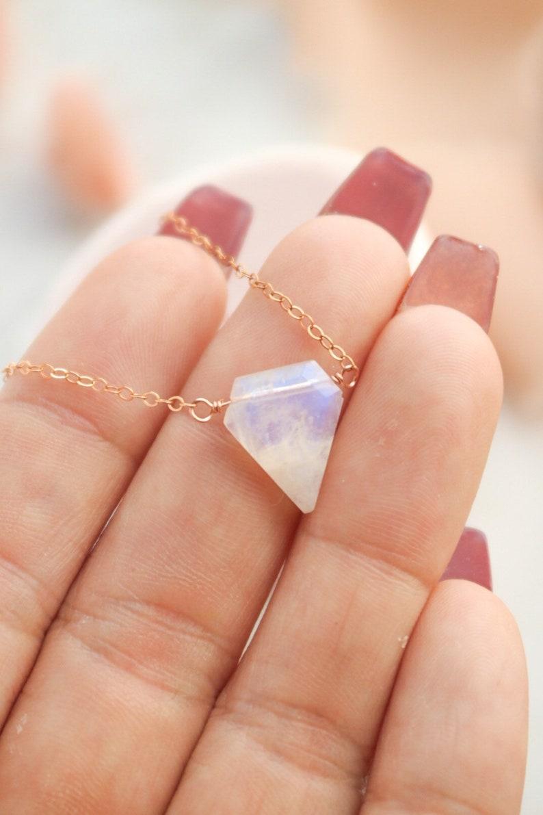 Dainty Rose Gold Moonstone Necklace Geometric gemstone image 1