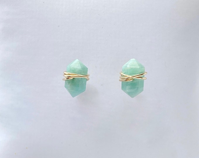 Amazonite stud earrings, wire wrapped gemstone earrings, amazonite jewelry