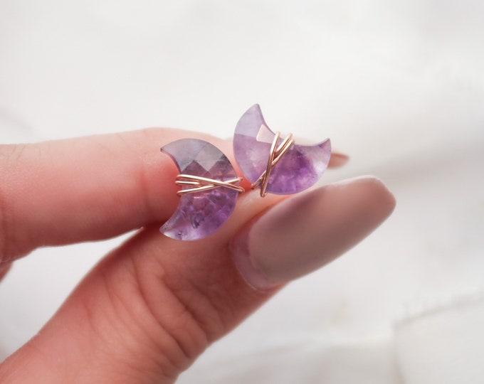 Purple Amethyst Moon stud earrings, Crescent Moon Amethyst Gemstone Earrings, Moon Jewelry
