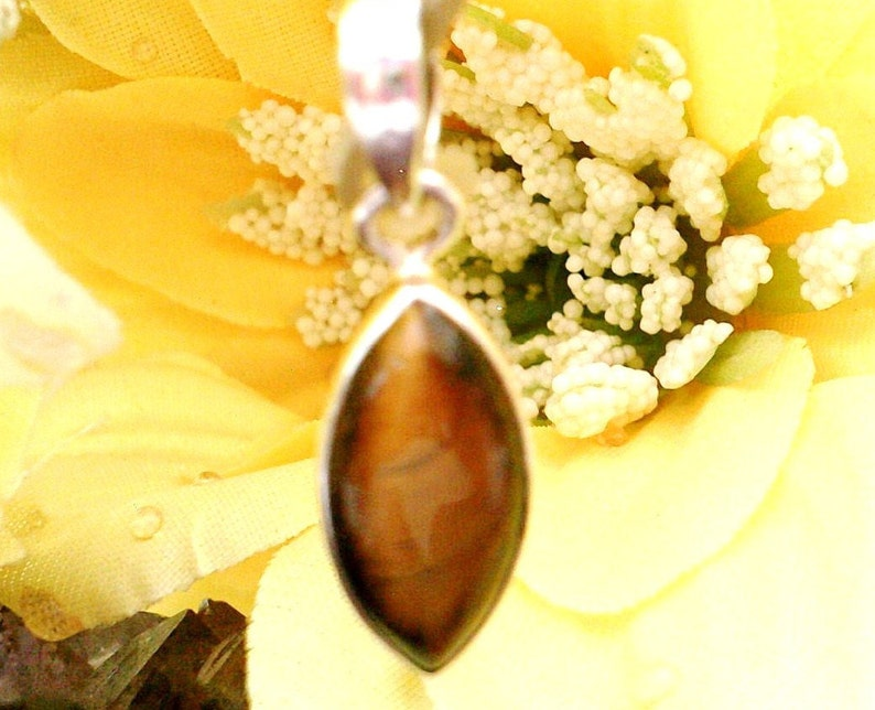 Necklace for Women Tigers Eye Pendant Necklace Minimalist Tiger/'s Eye Necklace 925 Sterling Silver Chain
