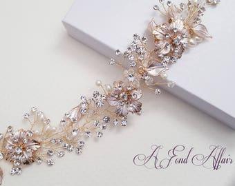 Bridal Hair Vine, Hair Wreath, Wedding Hair Vine, Gold-Rose Gold Hair Piece, Bridal Headpiece