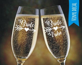 Custom name decal for Wine glass/ DIY Decal/ Personalized Custom Decal/ Bridal Party Decals/ Champagne flute decal/ Bachelorette party
