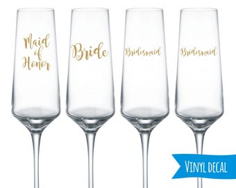Champagne flutes decals/ Custom name decal for Wine Glass/ DIY Decal/ Personalized Custom Decal/ Bridal Party Decals/ Bachelorette party