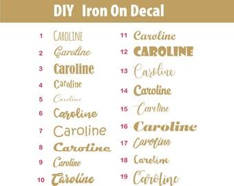 DIY custom name iron on, glitter name heat transfer design, diy heat transfer, custom name iron on decal, personalized iron on