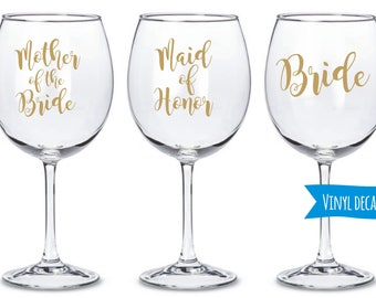 Personalized Custom Decal/ Custom name decal for Glass/ DIY Decal/  Bridal Party Decals/ Wine Champagne glasses decal/ Bachelorette party
