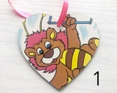 Vintage Retro Wuzzles Hanging Wooden Wall Heart Plaque Birthday Wedding Baby Shower Favour Decoupage Handmade Gift