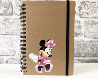 Disney Mickey Minnie Mouse Upcycled Recycled Kraft Notebook Notepad Unique Gift Stationary Autograph Book