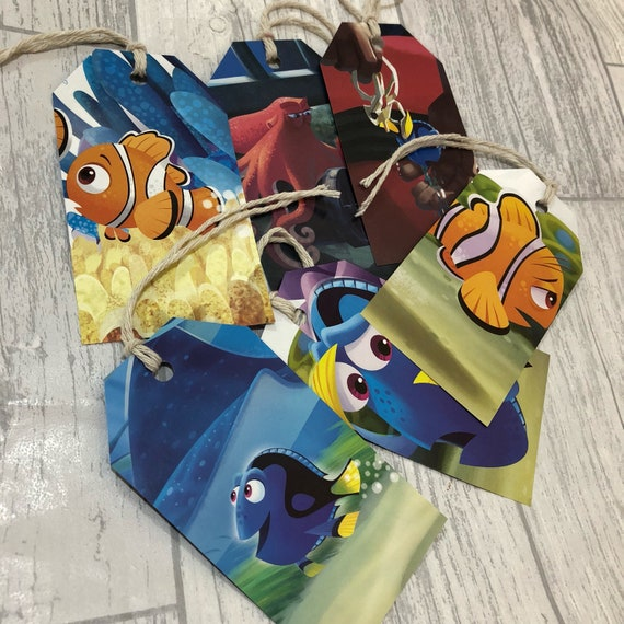 5 X FINDING DORY INSPIRED PERSONALISED GIFT TAGS /& RIBBON party bag labels