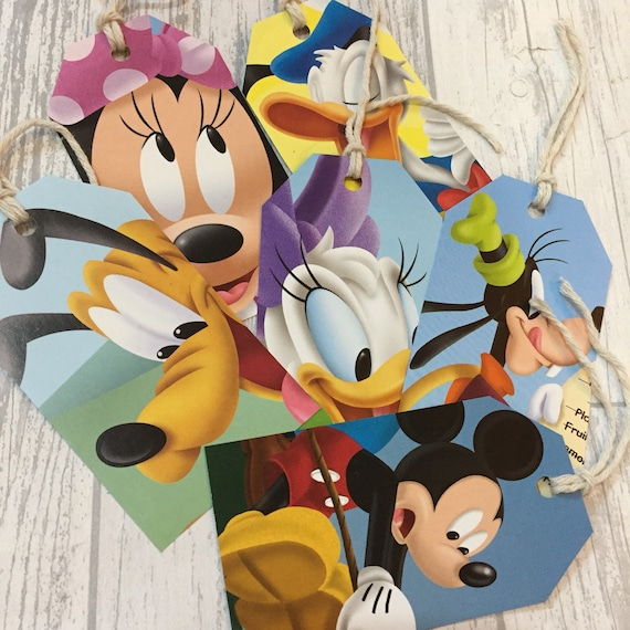 Disney Mickey Mouse Gift Tags Labels Upcycled Book Page Handmade Recycled