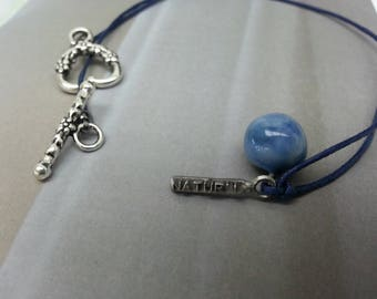 marbled ceramic blue ball pendant necklace