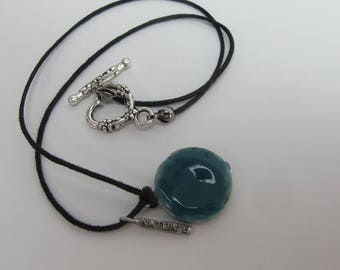 ocean blue ceramic layered necklace