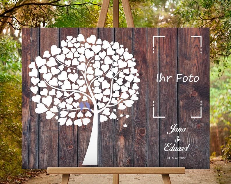 individualisierbar Hochzeitsbaum Weddingtree Gästebuch Leinwandbild 30x40cm oR