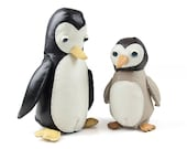 Leather Mother and baby handmade penguin