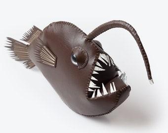 Leather handmade Anglerfish with UV Led light