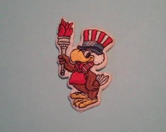 Uncle Sam Eagle Olympic Torch Olympics Embroidered Patch  - Vintage