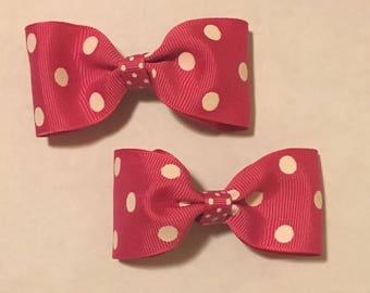 """3"""" Pink Polka Dot Hairbow Set"""