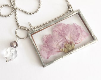 Real flower long necklace, Soldered charms floral necklace, Soldered glass pendant, Pressed flower pendant, Silver soldered charm, Garden
